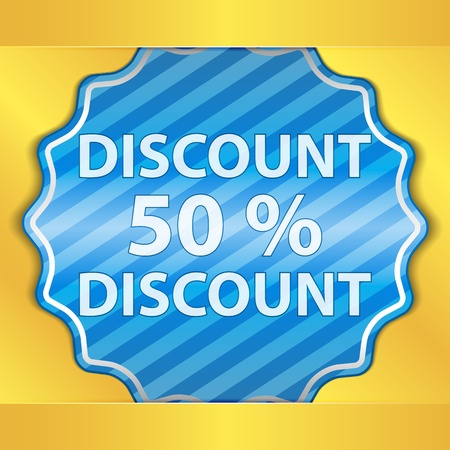 Blue Discount Sticker Vector