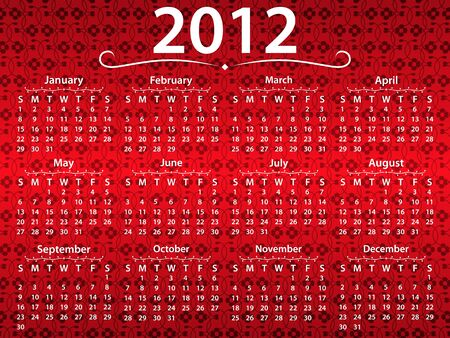 2012 calendar on the vintage background Vector