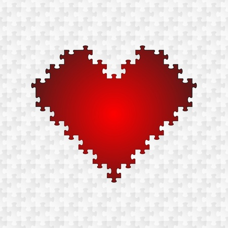 Red Puzzle Heart Vector