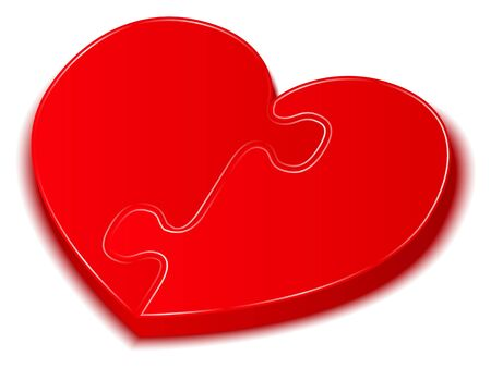 3D Red Puzzle Heart photo