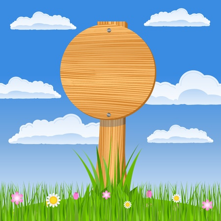 Wooden round board on the blue sky background Vector