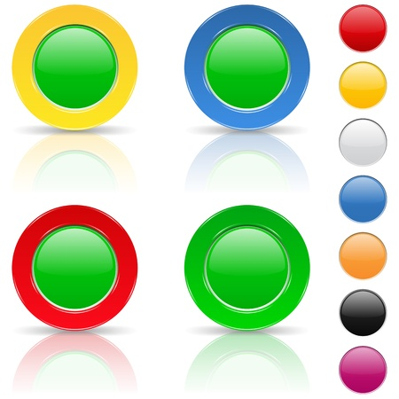 Round buttons with reflection Vector