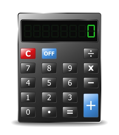 Black calculator with green digits