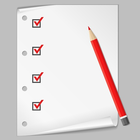 examinations: Check list with a red pencil Illustration