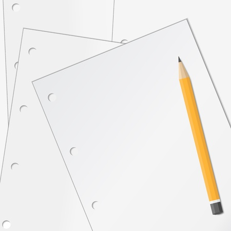 Background with paper and pencil Stock Vector - 11601222