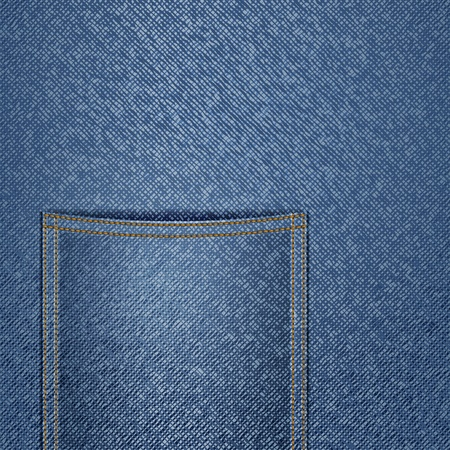 Blue jeans background with a pocket Vector