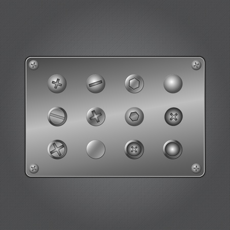 Screws on metal plate Vector