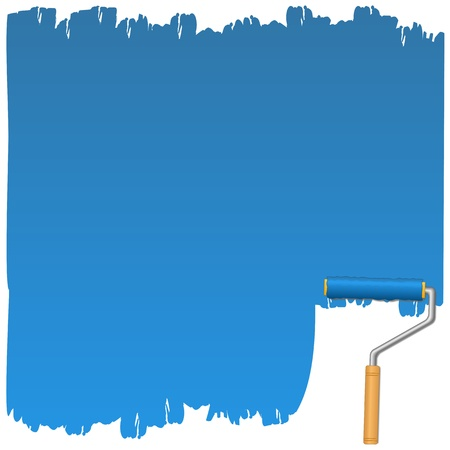 Background with blue paint and roller Vector