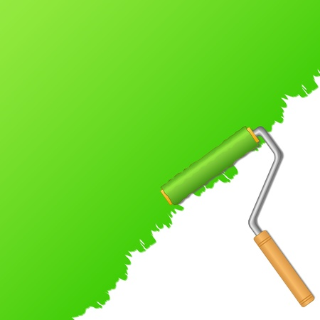 Background with green paint and roller Vector