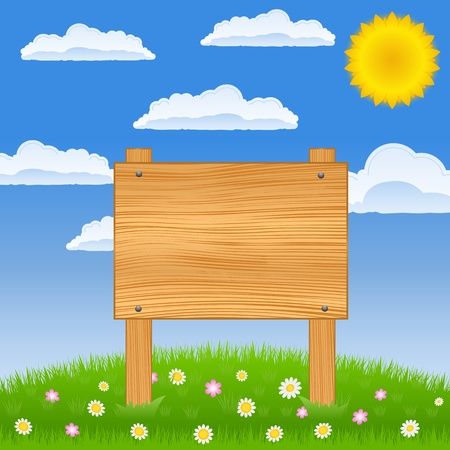Wooden board on the green field Vector
