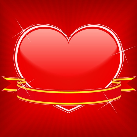 Red heart with stars and ribbon Vector