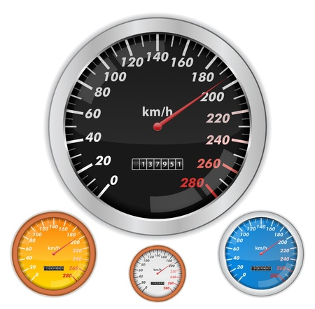 kilometre: Speedometers on white background