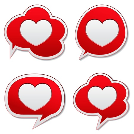 Red speech bubbles with heart icon Vetores