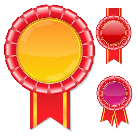award ribbon rosette: Red Vector Award Ribbons