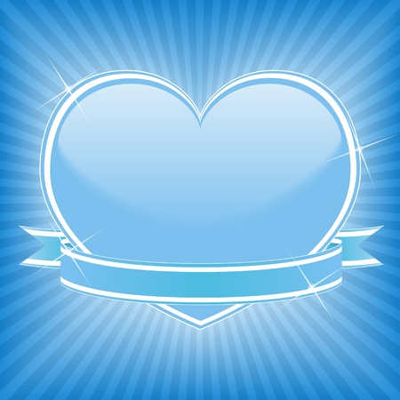 Blue heart with stars and ribbon Vector