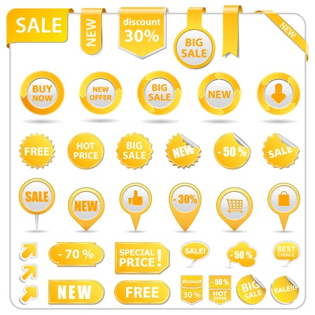 Big set of price tags, ribbons, arrows and stickers Vector