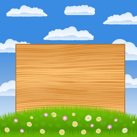 blank road sign: Wooden board on the green field Illustration