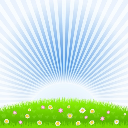 Meadow and rising sun Vector