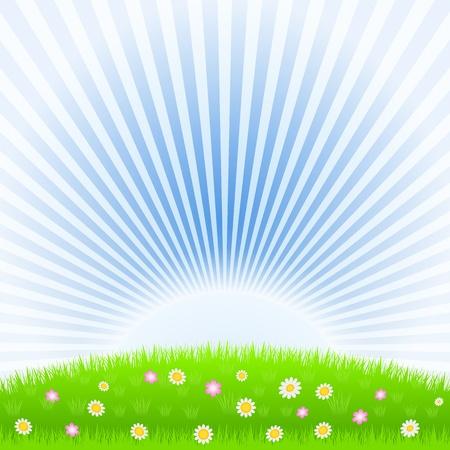 el sol: Prado y sol naciente