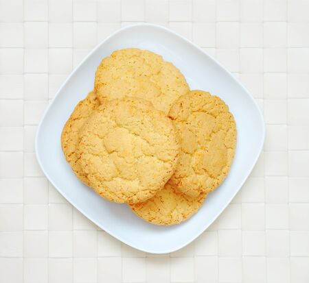 Oatmeal cookies on the plate, top view Stock Photo - 11889343