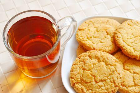 Tea and cookies, top view photo