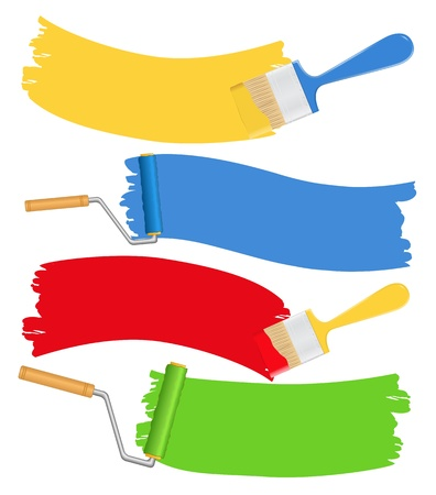 paint house: Brushes and rollers with paint