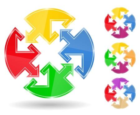 puzzle circle with arrows Vector