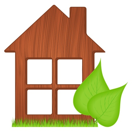 wooden house: Icon of ecological wooden house with green grass two green leaves