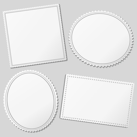 Vector white blank postage stamps Vector