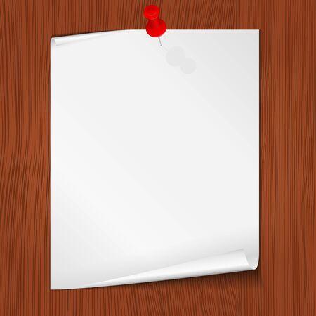 připínáček: Papír na stěně, vektorové ilustrace eps10 Ilustrace