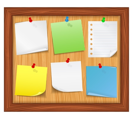 yellow sticky note: Wooden bulletin board with paper notes