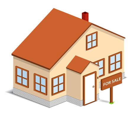 resettlement: Isometric house with sign For Sale.