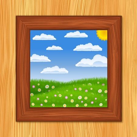 Wooden window and summer green field Vector