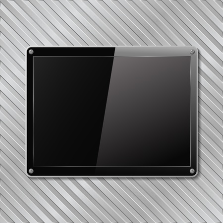 Black plate on metal striped background Stock Vector - 12054082