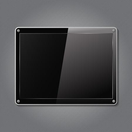 metalic design: Black plate on a metal backgrond Illustration