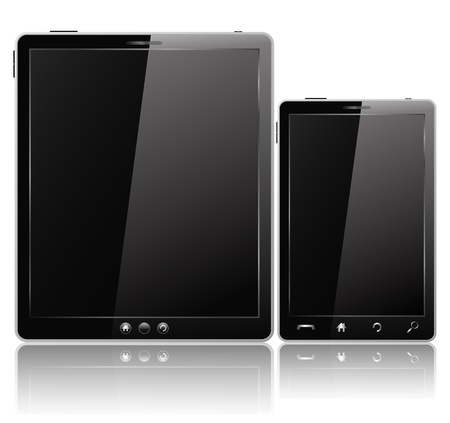 Black Tablet PC and Mobile Phone Vector