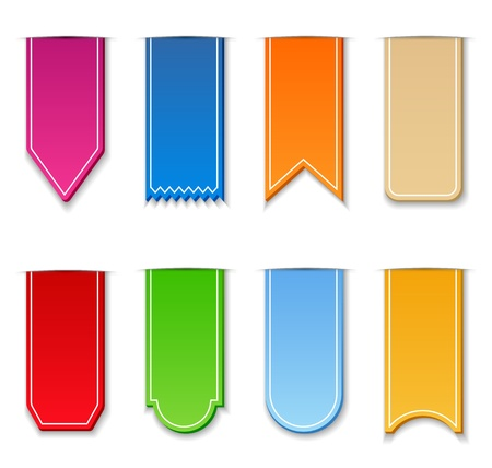 Set of colorful ribbons on white backgrond, illustration (transparent shadows) Vector
