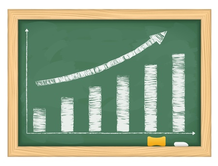 Blackboard with hand drawn growing bar graph and arrow Vector