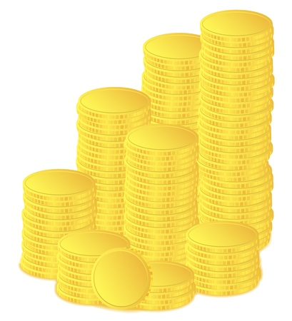 golden coins on white background Vector