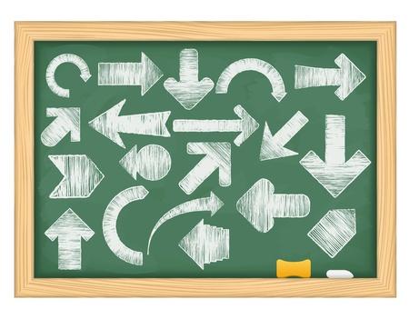 Hand drawn arrows on green blackboard Vector