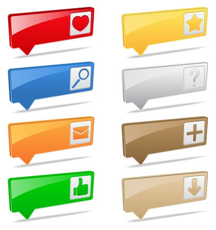 Vector 3D pointers with icons Stock Vector - 12482002