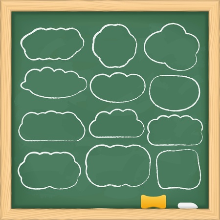 Hand drawn clouds on a blackboard Vector