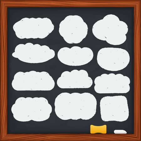 hand drawn frame: Hand drawn clouds on a blackboard