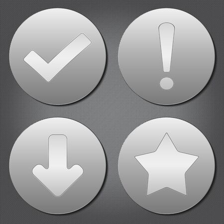 signo de admiracion: Placas redondas de metal con iconos