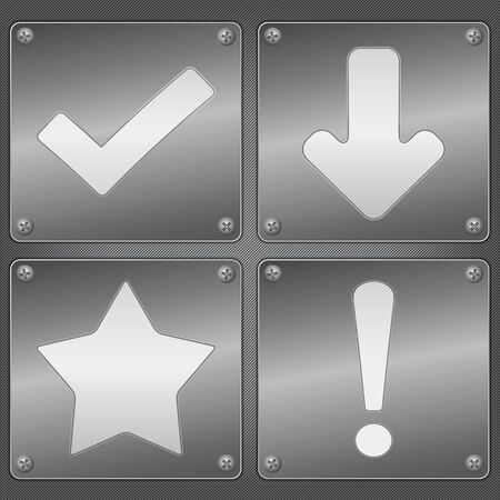 Metal plates with icons Vector
