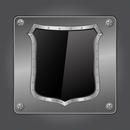 Black shield on metal board Vector