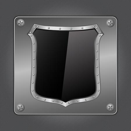 Black shield on metal board Vector