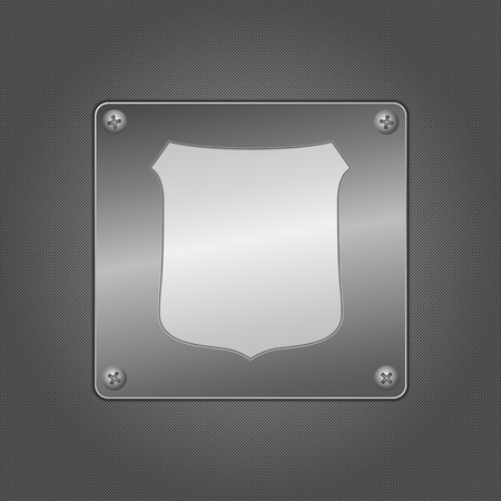 Shield icon on a metal board Vector
