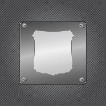 Shield icon on a metal board Vector