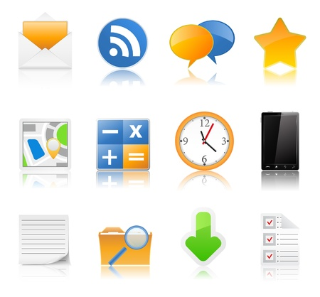 set of icons with reflection Vector